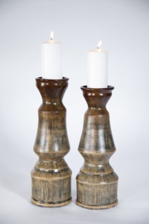 Classic Candle Holders Set of 2 in Willow Leaf Finish