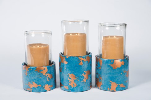 Large  Cylinder Hurricane with Glass in Galapagos Finish