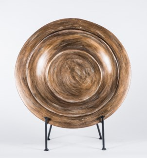 Bowl in Coal with Stand with Stand in Mayan Ruins Finish