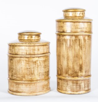 Large Tea Canister in Almond Bean Finish