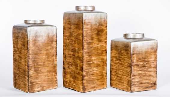 Large Square Canister in Cocoon Finish