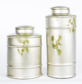 Large Tea Canister in Silver Birch Finish