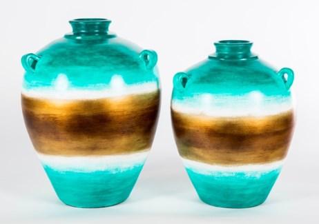 Large Three-Handled Vase in Atlantis Finish