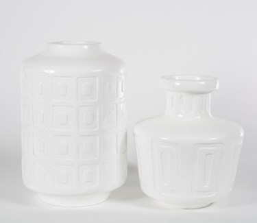 Small Geometric Vase in Glossy White Finish