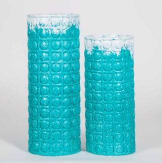 Large Ellis Cylinder Vase in Splash of Teal Finish