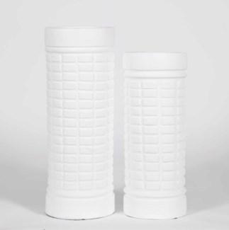 Large Geometric Cylinder Vase in Bianca Finish