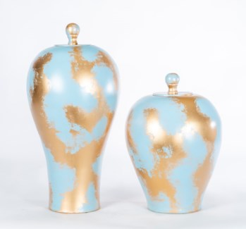 Large Vase with Lid in Golden Sky Finish
