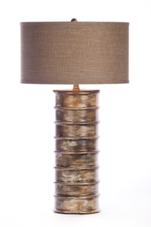 """Nichols Table Lamp in Tapestry Finish with Grey/White 18"""" Drum Shade"""