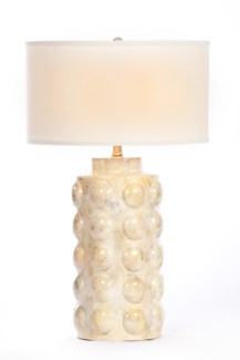 """Zoey Table Lamp in Candle Wax Finish with White/White 18"""" Drum Shade"""