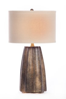 """Joseph Table Lamp in Rawhide Finish with Linen/White 15"""" Drum Shade"""