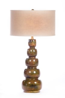 """Juliet Table Lamp in Olive Tree Finish with linen/White 18"""" Drum Shade"""
