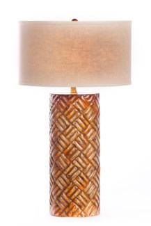 """Dalton Table Lamp In Pale Cordovan Finish with Linen/White 18"""" Drum Shade"""