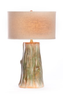 """Austin Table Lamp in Mossy Clay with Linen/White 18"""" Drum Shade"""