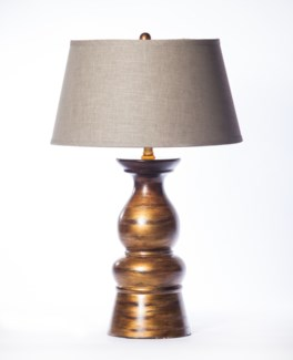 """""""Mason Table Lamp in Rockwood Finish with 18"""""""" Tapered Shade in Grey with Gold Lining"""""""