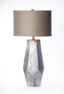 """Noah Table Lamp in Silver Cast Finish with 15"""" Drum Shade in  Grey with Gold Lining"""