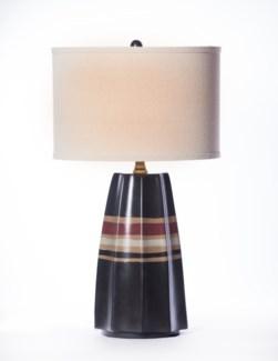 """Joseph Table Lamp Blackstrap Finish w/ Drum Shade 15"""" Linen/White"""