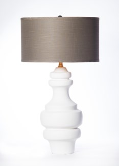 """Charlotte Large Ringed Table Lamp in Bianca Finish with 18""""  Drum Shade in Grey with Gold Lining"""