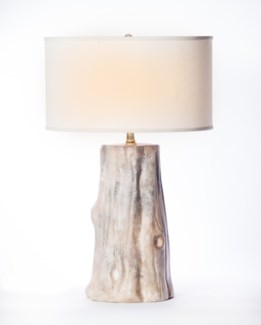 """Austin Table Lamp in Artifact Finish with 18"""" Drum Shade in White with White Lining"""