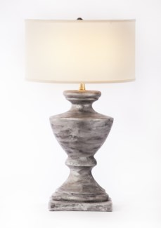 """Sofia Table Lamp in Silver Cast w/ White/White 18"""" Drum Shade"""