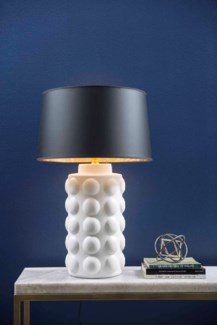 "Table Lamp in Bianca w/ Grey/Gold 18"""" Drum Shade"