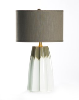 """Joseph Table Lamp in Lichen with 15"""" Grey/Gold Drum Shade"""