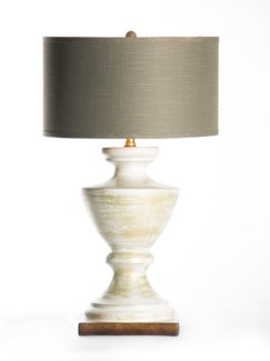 "Sofia Table Lamp in Vintage Ivory with 18"" Grey/Gold Drum Shade"