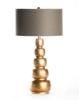 """Juliet Table Lamp in Aged Gold with 18"""" Grey/White Drum Shade"""