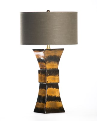 "Cooper Table Lamp in Gilded Hive with 18"" GreyWhite Drum Shade"