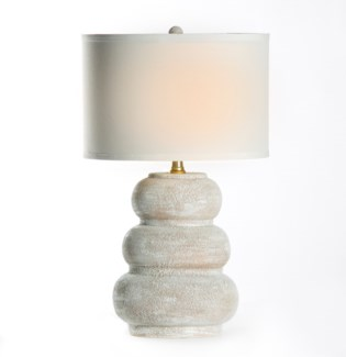 "Conner Table Lamp in Vintage Blanco with 15"" White/White Drum Shade"