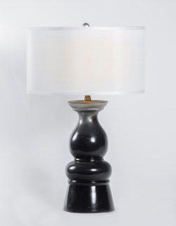 "Mason Table Lamp in Black Pearl w/ 18"" White/White Drum Shade"