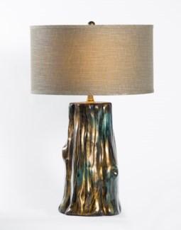 "Austin Table Lamp in Havana Finish w/ 18"" Grey/White Drum Shade"