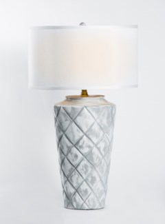 "Tylor Table Lamp in Patagonia Finish w/ 18"" Grey/White Drum Shade"