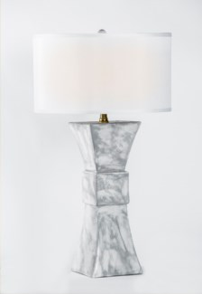 """Cooper Table Lamp in Patagonia Finish w/ 18"""" White/White Drum Shade"""