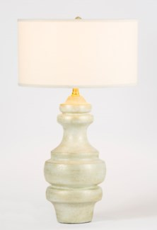 "Charlotte Large Ringed Table Lamp in Weathered Stone Finish with 18"" Drum Shade in White/White"
