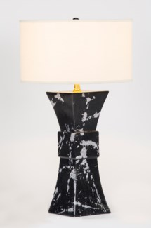 """Cooper Table Lamp in Phantom Finish with 18"""" Drum Shade in White/White"""