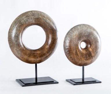 Large Circle Sculpture in Mocha Finish