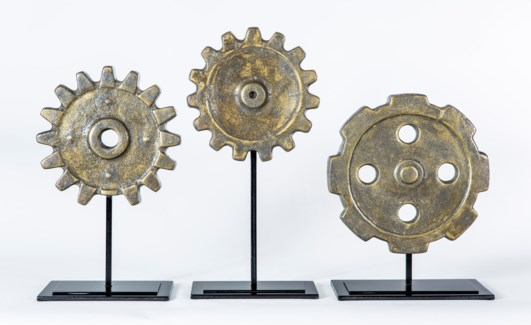 Large Cog Sculpture w/ Stand in Charcoal Smudge Finish