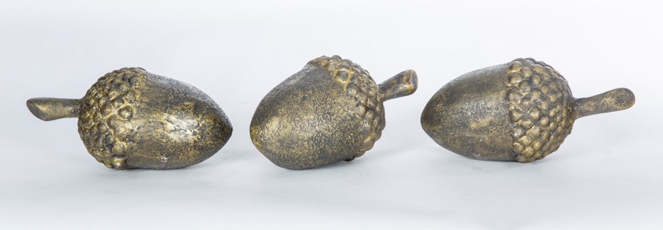 Set of 3 Acorn Sculptures in Charcoal Smudge Finish