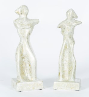 Abstract Lady Sculpture in Travertine Finish