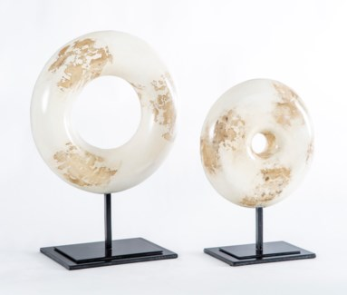 Large Circle Sculpture in Rubbed Alabaster Finish