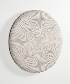 Large Round Wall Art with Grooves in Vintage Blanco