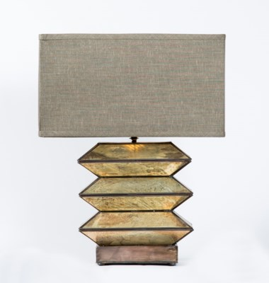 Iris Table Lamp in Reverse Spotted Old Mirror with Rectangle Grey/Gold Shade