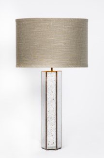 "Henry Table Lamp in Old Mirror with 15"" Grey/Gold Shade"