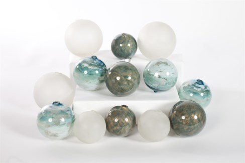 """Set of 12 Assorted Balls in Mirage, Ocean, and Frost Finish"""