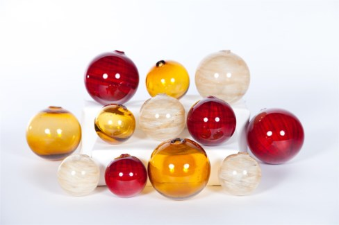 """""""Set of Spheres - 3"""""""", 4"""""""", 5"""""""" in Cherry Plaid, Cloudy Water & Amber"""""""