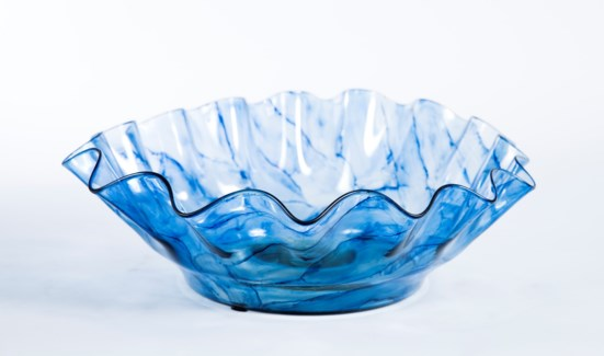 Large Ruffle Bowl in Aquatic Haze