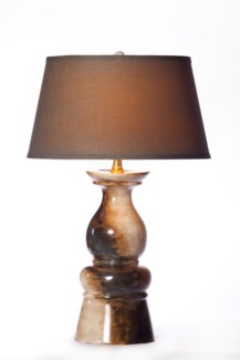 Mason Table Lamp in Amerciana Finish with Tapered Shade Grey/White