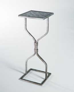 Hourglass Accent Table in Antique Silver with Glass Top in Mythic