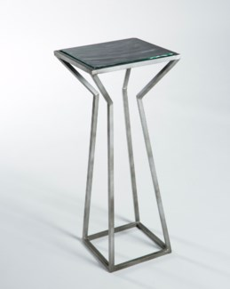 Accent Table in Antique Silver with Glass Top in Mythic
