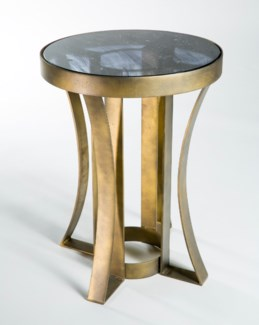 Flat Stock Side Table in Antique Gold with Glass Top in Emperors Stone